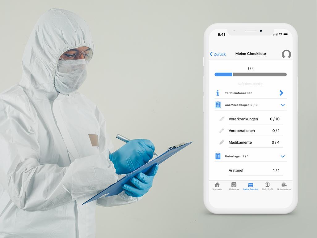 COVID-19 Coronavirus Person mit Corona Schutzkleidung und Smartphone