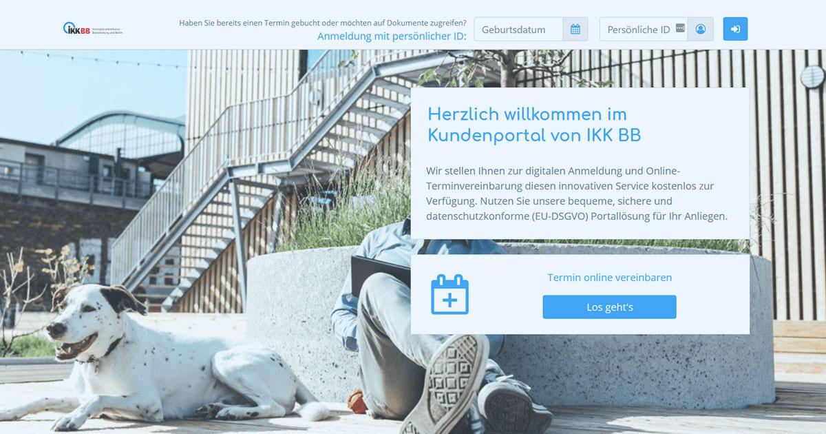 Portal fuer digitale Anmeldung und Online Terminvereinbarung der IKK BB