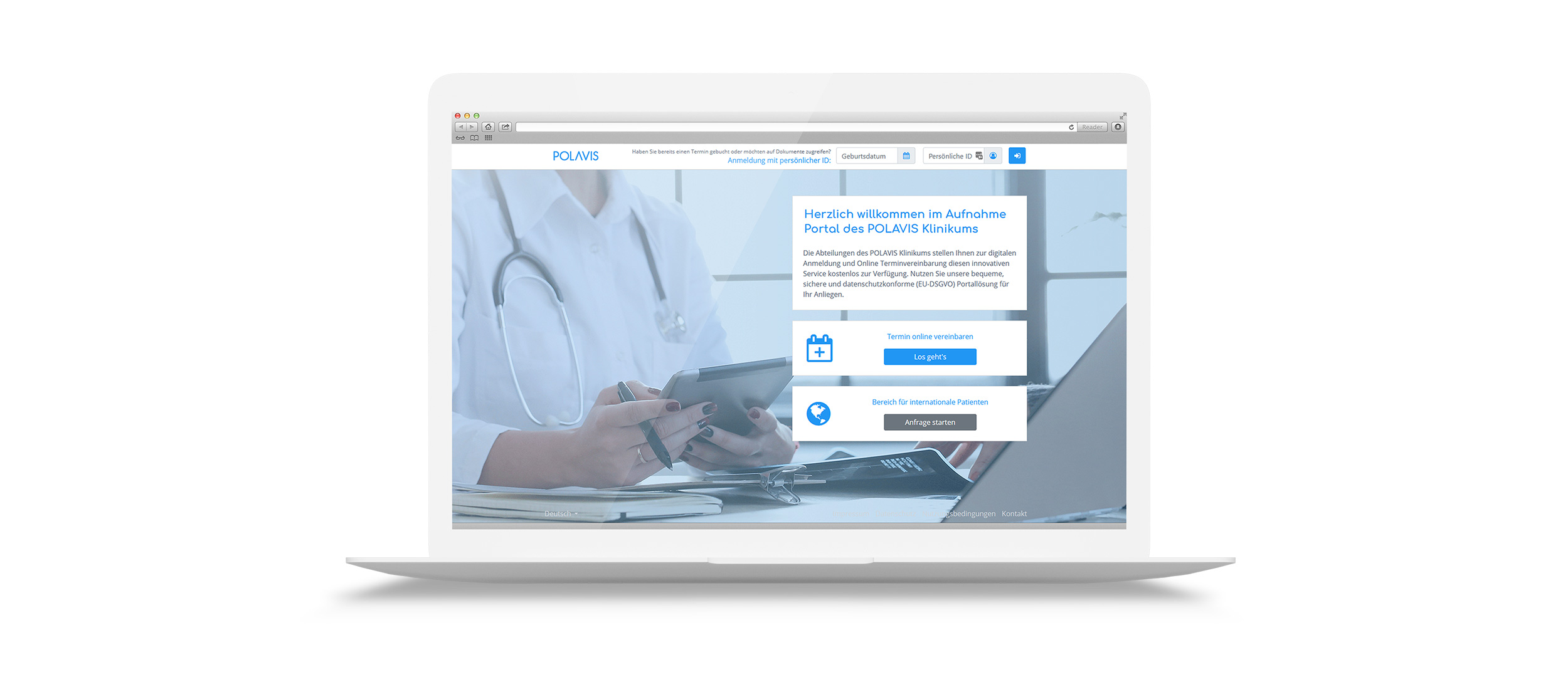 Benutzeroberfläche POLAVIS Patientenportal